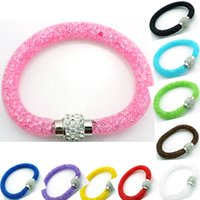 Wholesale Fashion Cuff Bracelets Stardust Crystal Mesh Magnetic Clasp Infinity Chain Color DIY Bracelets Bangles Jewelry