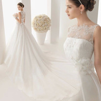 beading bit - 2015 Vintage Wedding Dresses Bit Short Capped Sleeve Sexy Sheer Back A Line Chapel Train Beaded Lace Bridal Gowns Amelia
