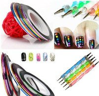 bearing tape - 5X2 Way Marbleizing Dotting Pen Set for Nail Art Manicure Pedicure Color Rolls Nail Art Decoration Striping Tape