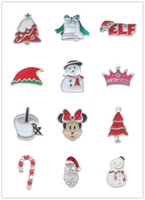Wholesale Mix design Silver plated Enamel Christmas Charm Christmas Floating Assortment Set Charms