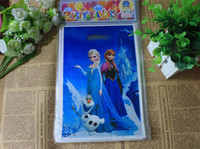 Wholesale frozen Christmas gift bag frozen Elsa Anna Pricess loot bags box plastic shopping souvenir bag packing package party decorations kids gift