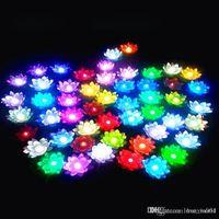 Wholesale 17cm LED EVA Lotus flower night Light Artificial Floating Water flashing Flowers Home Wedding Tank Decoration