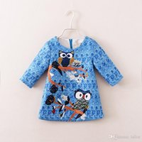 childrens clothing - 2015 Spring Fashion Dresses Childrens Dresses Baby Cartoon Clothing Kids Owl Dresses Baby Girls New Sky Blue Dresses Girl Dresses