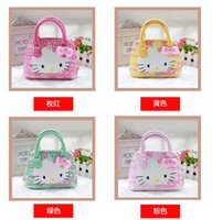 Wholesale Korean Purses Princess - New Hot Girls Baby Toddler Handbag Lovely Hello Kitty Bow Shell Messenger Bag Korean Princess Crossbody Cute Mini Purse Pu Good Quality