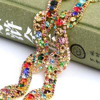 Wholesale DIY Handmade Welded gold plating wedding dress trim colorful Crystal Rhinestone Chain For Garments Decoration