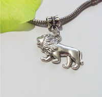 lion charms - 50ps Antique Silver Plated Lion Dangle Bead for European Bracelet Charm Pendant for Jewelry Making Handmade Craft x17mm