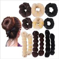 artificial hair buns - 2Pcs Set Women Girls Fashion Hair Tools Hairband Elegant Magic Style Buns Braiders Headwear Hair Rope Hair Band Accessories