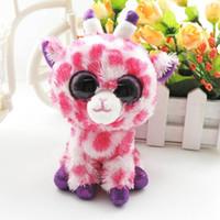 beanie baby giraffe - 6 Small Lovely Pink Romantic Giraffe Beanie Boos Stuffed Babies Junglelove Animals Dolls Soft Plush Toys for Children Gift