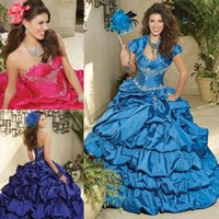 Cheap 2015 Princess Quinceanera Dresses Ball Gown With Beads Tiered Debutante Formal Gowns Floor Length Lace Up With Jacket Taffeta