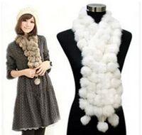 rabbit fur scarves - 2014 New Women Rabbit Fur Scarf Real Rabbit Fur Collar Natural Rabbit Fur Ball Neckerchief