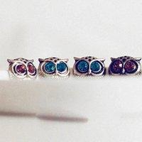 Wholesale 2015 fashion Retro bronze owl earrings stud Diamond Stick statement Retro jewelry girls summer gift
