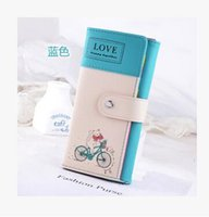 bicycle credit - 2016 Direct Selling Lycra Pu Wallets Billeteras Bicycle Mobile Wallet New Ms Long Paragraph Korean Cute Girl Student Capacity TOP1159
