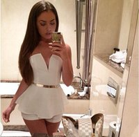 Wholesale 2015 New summer short jumpsuits for women fashion designer Sexy white strapless shorts deep V neck Jumpsuit Romper for party Clubwear FW590