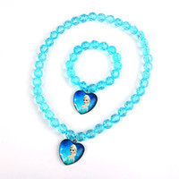 Wholesale House kids stores offer hot girl Anna Anna Elsa frozen princess necklace bracelet Children Jewelry Set