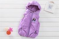 Wholesale Frozen Vest The new autumn winter pull bag with ice colors hooded zipper cardigan cotton vest children vest multi color spot