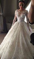 Wholesale Scalloped Sweetheart Tulle Ball Gown - Arabic Appliqued White Ball Gown Wedding Dresses Long Sleeves See Through Scalloped Church Bridal Gowns Luxury Lace Wedding Gown 2016 Spring
