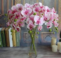 Wholesale NEW Silk Flowers Small Butterfly Orchid cm quot Length Colors Available Artificial Trumpet Phalaenopsis for Wedding Flower