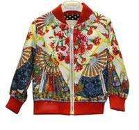 100% cotton jackets - WL Monsoon Euroean Style Floral Pritned Vintage Girl s Coats Long Sleeve Mardarin Collar Fashion Kids Jacket New Cardigan Outwear J4488