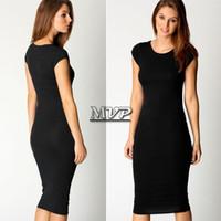 Wholesale 2015 New Summer Women Dress Celeb Bodycon Dress Midi Dresses Cap Sleeve Jersey Ladies Casual Dress Vestidos Black