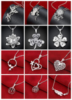 bamboo lanterns - mix style silver necklace crystal heart lantern bamboo chrysanthemum plum blossom clover pendant charm necklace