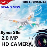 Wholesale RC Drone Syma X5C X5C G CH Axis Remote Control RC Helicopter Quadcopter Toys Drone Ar Drone With HD Camera DHL FJ