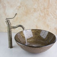 art glass vessel - 425396006 Painting Bathroom Round Art Washbasin Tempered Glass Vessel Sink With Antique Brass Faucet Set