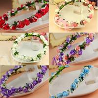 beaches hawaii - 2015 Wedding Bridal garland colorful rose flowers head Wreaths artificial Hawaii bridal girl head Beach flower crown