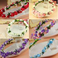 Wholesale Wedding Bridal garland colorful rose flowers head Wreaths artificial Hawaii bridal girl head Beach flower crown