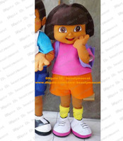 Wholesale Cool Brown Dora The Explorer Mascot Costume Mascotte Lassock Little Girl With Pink Shirt Blue Shorts Adult No Free Ship