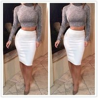cotton night shirt - 2015 New Fashion Two Piece Dress Long Sleeve Grey Knitting Top T shirt Bodycon Dress Contrasted Color White Skirt Club Cotton Pencil Dress