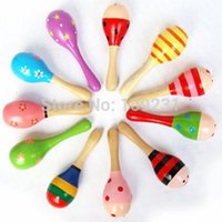 Wholesale New Hot Wooden Maraca Wood Rattles Kid Musical Party Favor Child Baby Shaker Toy High Quality M0083 W0