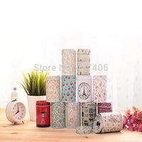Wholesale Multi pattern Colorful Double cover small cylinder Tea Food Storage toothpick caddy Tin canister Boxes mason jar