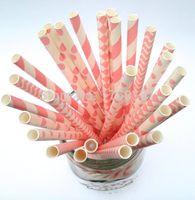Wholesale 250pcs Mixed Designs Pale pink Party Paper Drinking Straws Stripe Swiss Dot Chevron Polka Dot Harlequin Christmas birthday