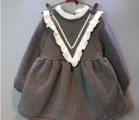 best cloth brands - best selling new Winter Girls Dresses Full Sleeve Fur Lace School Girl Dress Princess Party Children Kids Cloth Grey