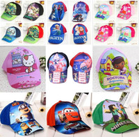 Wholesale 11 Designs Childrens Hats Caps Minions Frozen Minecraft Big Hero Baymax Spiderman Baseball Caps Sun Hats for Boys Girls