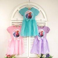 Cheap Frozen Girls Tutu Dress Costume Anna & Elsa Princess Dresses Baby Kids Bowknot Party Dress Children short sleeve Wear