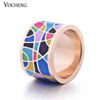 artistic rings - mm Wide Stainless Steel K Gold Plated Jewelry Artistic Designs Enamel Ring VR Vocheng Jewelry