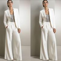 al por mayor trajes de novia-2pcs formales Pantalones Mujeres blanca de los juegos Oficina Señora traje con chaqueta para la tarde nupcial del partido del traje de ropa De mero de mariee