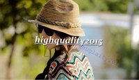 Cheap Brand new Attractive Summer Autumn Fashion Womens Straw Hat Color Striped Beach Sun Hat Foldable Hat