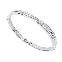 Wholesale Top Grade Rushed Silver Bangle Bracelet Hot Sale Fashion Crystal Cuff Bracelets Bangles for Women Men Girl Free ship GXB