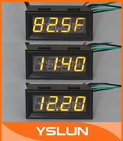 Wholesale 5 quot Fahrenheit Scale Car Digital Temp Clock Volt Meter in1 Yellow LED Auto Gauge Thermometer With B20 Probe
