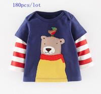 baby clothes teddy bear - 180pcs new style Autumn baby boys cartoon Teddy bear printed long Red striped sleeve cute t shirt Children clothes