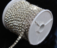 Wholesale ss12 rhinestone crystal cup chain clear rhinestones with silver metal base yards garment accessories mm
