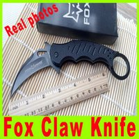 Cheap Real photo Fox Claw Karambit G10 Handle Folding blade knife Outdoor gear EDC Pocket Knife utility hiking knife knives Black Edition 495X