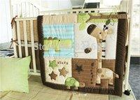 Cheap 100% Cotton Baby Quilt Nursery Comforter Cot Crib Bedding Set Bumper for Girl and Boy Animal Birdie Turtle Bee Giraffe Designs