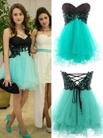 Cheap 8th Grade Graduation Homecoming Dresses 2015 Black Lace and Mint Tulle Corset Backless Short Prom Dress Personalized Evening Party Gowns New