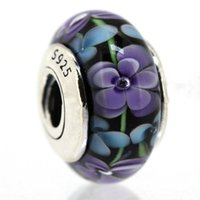 Wholesale Popular Gorgeous Purple Flowers Glass Charm Fit for Sterling Silver Snake Chain Bracelet DIY Fashion Jewelry