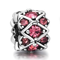 925 sterling silver beads - Rose Red Crystals Sterling Silver Charms Striped With European Charm fit Pandora Bracelet Snake Chain Jewelry Beads