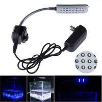 Mode de 12V 24 LED Aquarium lumière eau Fish Tank Plante Tropical Fish 3 Pince Blanc / Ampoule Blue Light Lamp Avec CE ROHS Aprroval