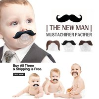 Wholesale Free DHL Novelty Funny Mustache Baby Boy Girl Infant silicone Pacifier Orthodontic Dummy Beard Nipples